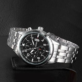 Swidu Single Calendar Wrist Watch Men's Quartz Business Steel Strip Wristwatch