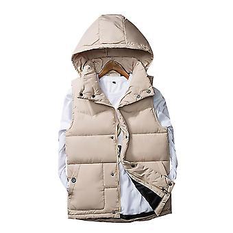 Мужчины и Apos's Весна и осень и зима с капюшоном Padded Puffer Vest Waistcoat Съемный Cap Sleeveless Мягкий куртка