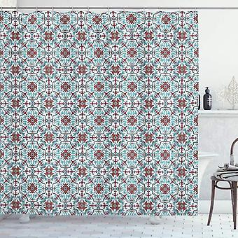 Antique Shower Curtain, Antique Flowers, Fabric Bathroom Decoration Set With Hooks Light Blue Red Green 120x180cm