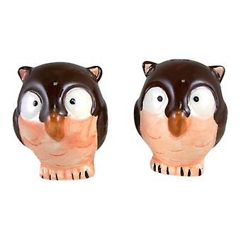 Granero Hoot Owl aves sal y pimienta coctelera Set