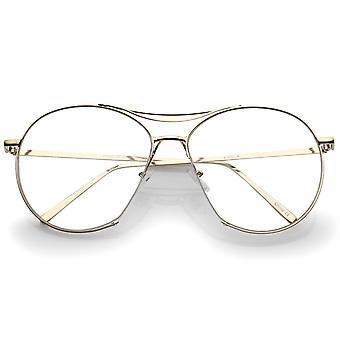 Oversize Semi-Rimless Brow Bar Round Clear Flat Lens Aviator Eyeglasses 59mm