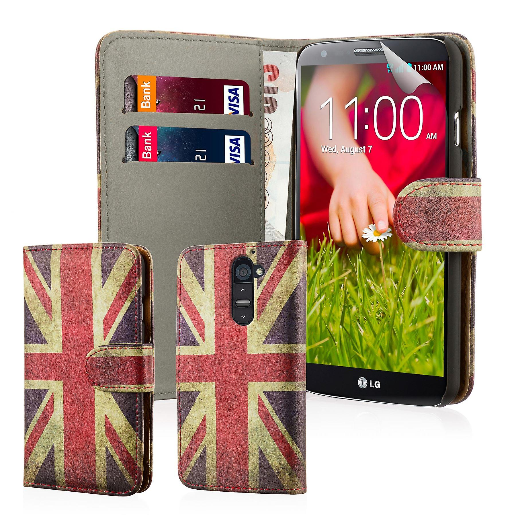 Design book PU leather case cover for LG G2 (D802) - Union Jack UK Flag