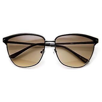 Mode féminine corne impression animale Full Metal Frame Rimmed lunettes de soleil