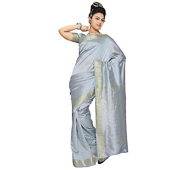 Gray Art Silk Saree Sari fabric India Golden Border