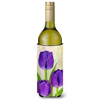 Purple Tulips by Maureen Bonfield Wine Bottle Beverage Insulator Hugger