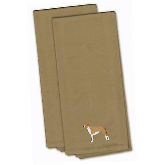 Borzoi Russian Greyhound Tan Embroidered Kitchen Towel Set of 2