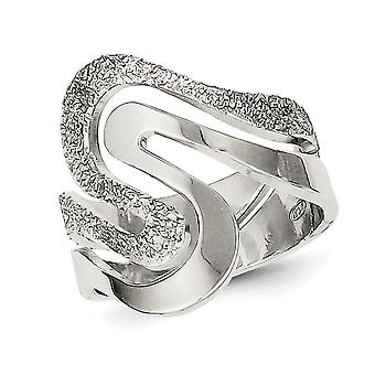 Ladies Textured Swirl Ring in Sterling Silver