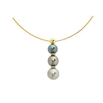 Collier Cable Ras du cou Femme en Or Jaune 750/1000 et 3 Perles de Tahiti