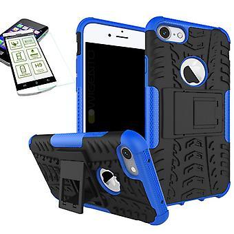 Hybrid case 2 stykke blå for Apple iPhone 8 og 7 4.7 tommers + herdet glass bag coveret