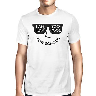 Too Cool For School Mens White Funny Graphic T-Shirt Gift For Him
