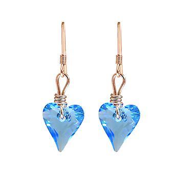 Gemshine örhängen rosa hjärta blå gjord med SWAROVSKI element®