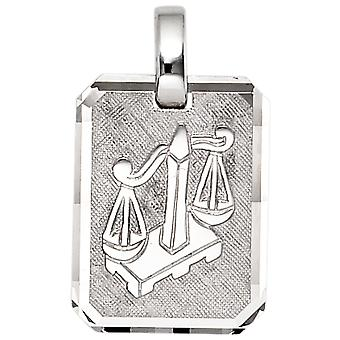 Trailer Zodiac balance 925 sterling silver rhodium plated partly frosted