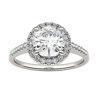 14K Gold Moissanite by Charles & Colvard 7.5mm Round Halo Engagement Ring, 1.82cttw DEW