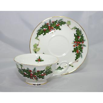 English Bone China Teacup & Saucer Holly & Ivy
