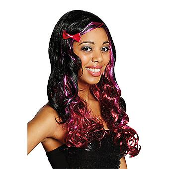 MIA curly Lady wig side parting black red pink accessory Carnival