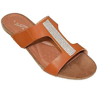 JLH707 Angel Ladies Glitter Diamante Slip On Mule Fashion petit Wedge Sandals