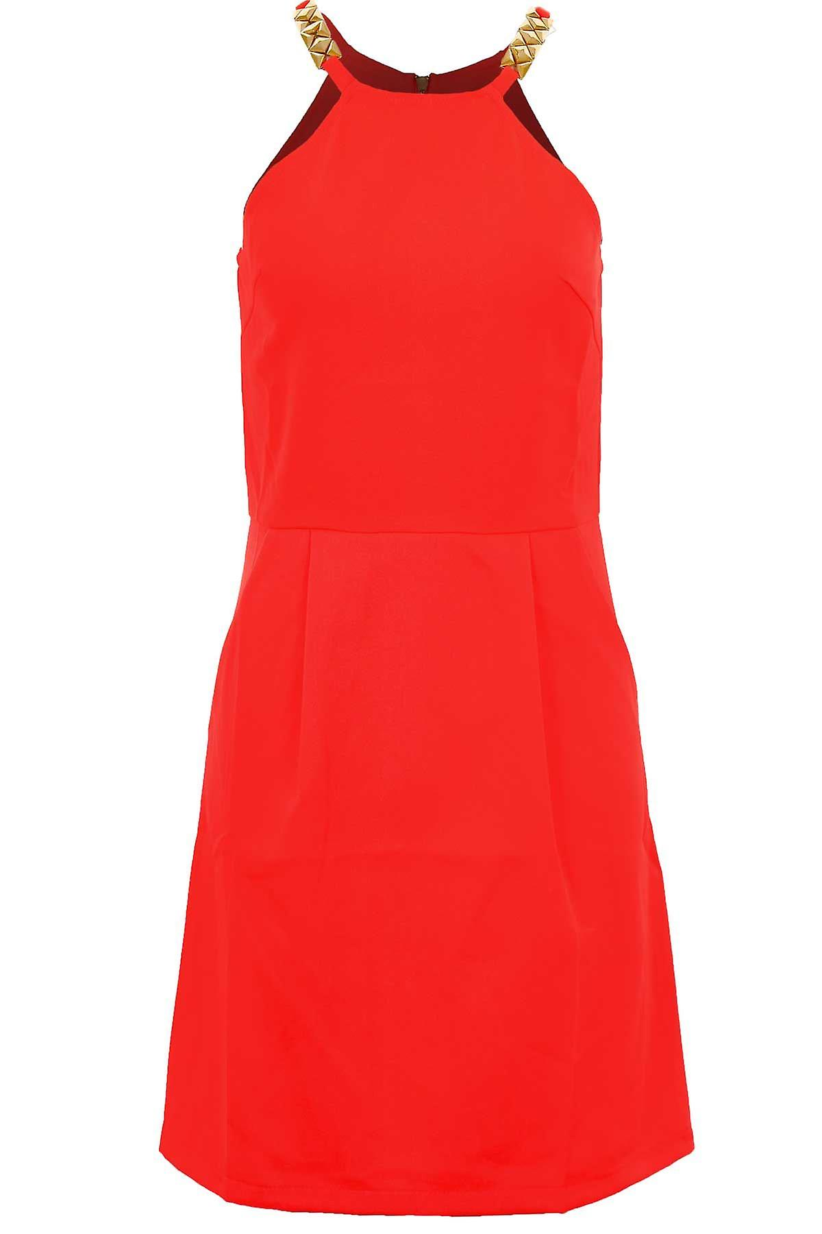 Ladies Sleeveless Studded Strap Zip Back Women's Smart Party Shift Dress