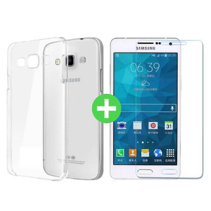 Stuff Certified® Samsung Galaxy A7 Transparent TPU Case + Screen Protector Tempered Glass