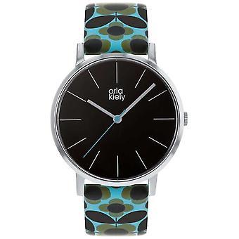 Orla Kiely | Las señoras Patricia | Flor azul impresión correa de reloj del OK2269