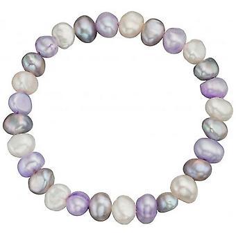 Principios de perla de agua dulce cultivadas pulsera - púrpura/blanco