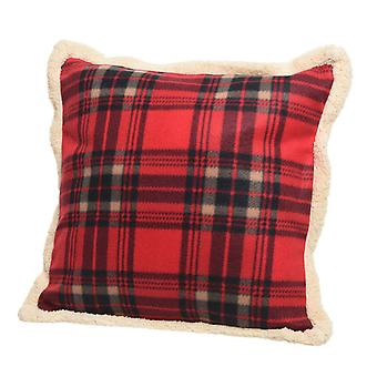 TRIXES Luxury Fleece Plush Soft Xmas Cushion Red Plaid Pattern 45 x 45cm