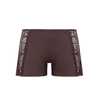 Guy de France 59189-1-170 Women's Brown Solid Colour Lace Pajama Pyjama Short