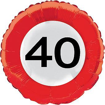 Folienballon Verkehrsschild Zahl 40 Geburtstag Helium Ballon Party