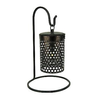 Black Metal Cage Hanging LED Accent Light with Stand