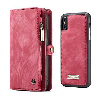 CASEME iPhone X/XS retro Split nahka lompakko kotelo-punainen