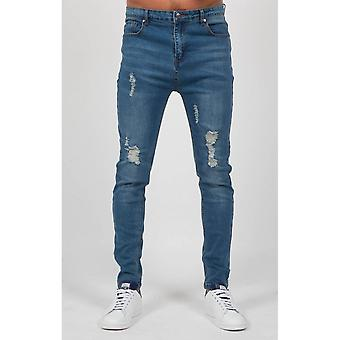 Always Rare Distressed Drop Crotch Tapered Jeans