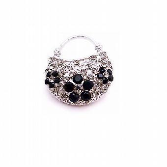 Bedøvelse pung broche sort diamant Jet krystaller broche mousserende gave