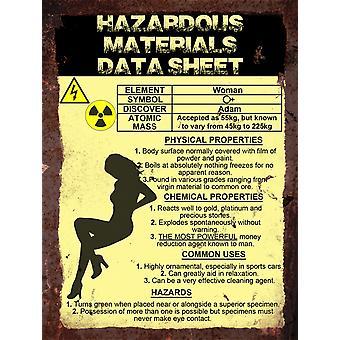 Vintage metalowy znak ściana - arkusz danych materiałów niebezpiecznych