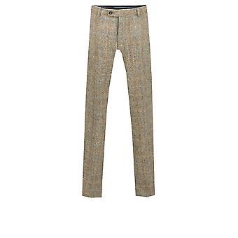 Scottish Harris Tweed Mens Brown Suit Trousers Regular Fit 100% Wool Windowpane Check