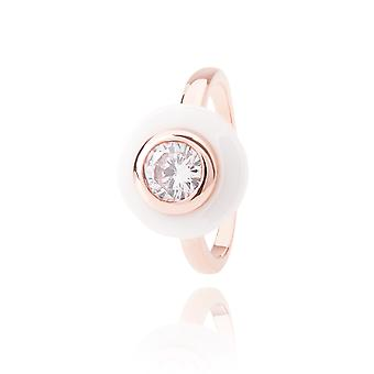 Ah! Jewellery Ceramic White And Rose Filled Gold Ring With Cubic Zirconium