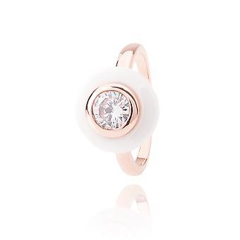 Ah! Schmuck Keramik weiß und Rose gefüllt Gold Ring mit Cubic Zirkonium