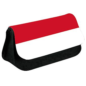 Indonesia Flag Printed Design Pencil Case for Stationary/Cosmetic - 0078 (Black) by i-Tronixs