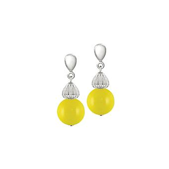 Eternal Collection Solitaire Yellow Pearl Silver Tone Drop Clip On Earrings
