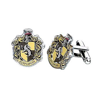 Harry Potter Hufflepuff Crest placcato argento Gemelli