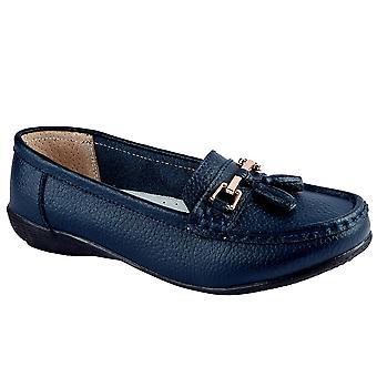 Lederen dames Slip op mocassins comfortabele platte kwast lage hak Loafer schoenen