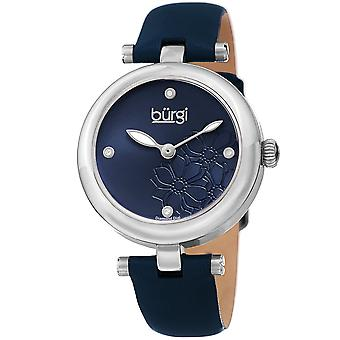 Burgi Women's Diamond Accented Flower Dial Watch - Comfortable Leather Strap BUR197BU