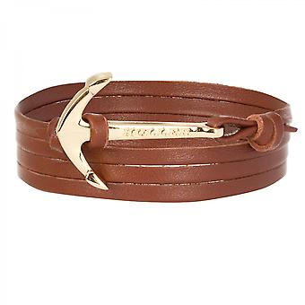 Holler Mosley  Gold Polished Anchor / Brown Leather Bracelet HLB-02GDP-L04