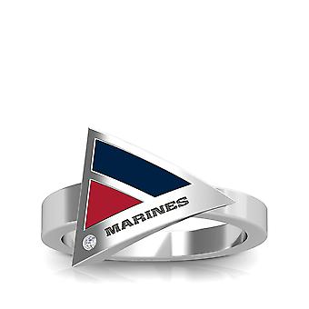 U.S. Marines Engraved Sterling Silver Diamond Geometric Ring In Blue and Red