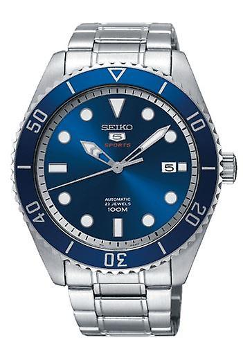 Seiko 5 Sports Silver Steel Blue Dial Automatic Men's Watch SRPB89K1