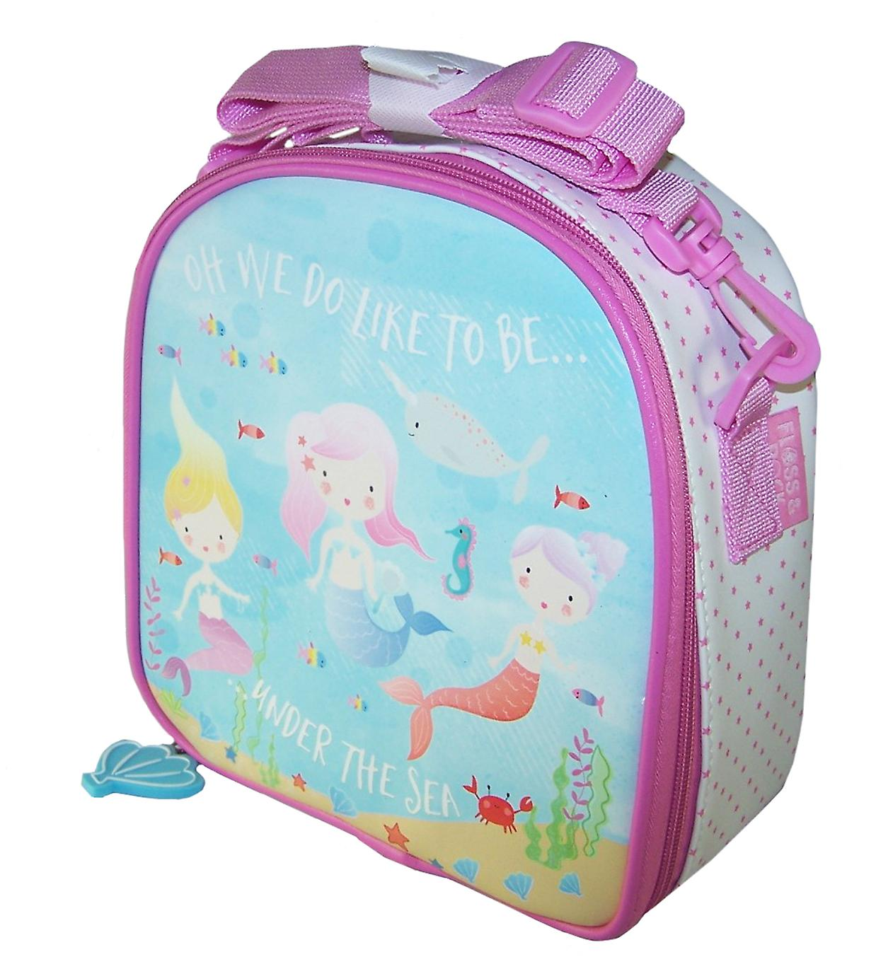 Girls pink and blue mermaid insulated lunch bag