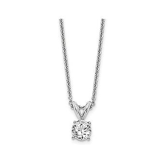 1/3 Carat (ctw E-F, VS2-SI1) Lab Grown Diamond Solitaire Pendant Necklace in 14K White Gold with Chain