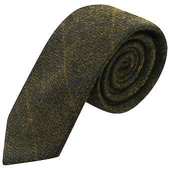 Luxe Juniper groene Herringbone Check Tie, Tweed