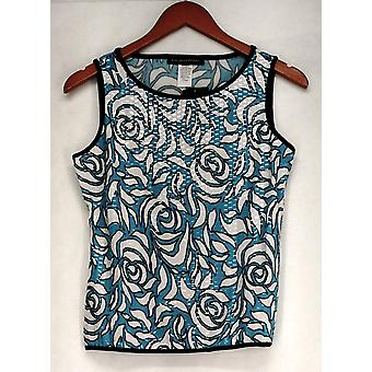 aDRESSing WOMAN Printed Sparkled Tank Blue Top Womens