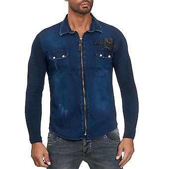 Chemise homme Jeans Look Fabric Mix Longsleeve Zipper Transition Jacket Biker Polo