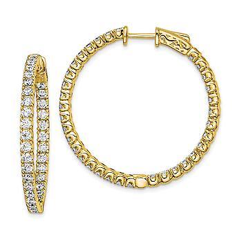 925 Sterling Silver Polished Prong set Hinged hoop Safety clasp 14k Gold Plated With CZ Cubic Zirconia Simulated Diamond