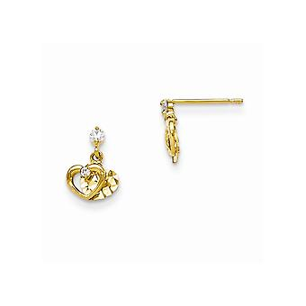 14k Yellow Gold Madi K CZ Cubic Zirconia Simulated Diamond Sparkle Cut for boys or girls Love Heart Post Earrings